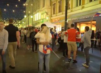 Russia World Cup fan kissing Russian girl.