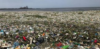 Plastic pollution on the shores of Montesinos beach, Santo Domingo, in the Dominican Republic. Photo by: Parley for the Oceans.