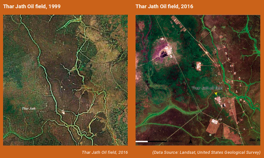 Map of the expansion of the Jath Oil Field between 1999 and 2016. Photo by: South Sudan First State of Environment and Outlook Report 2018 (UNEP).