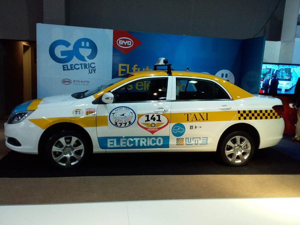One of the many environmentally friendly taxis in Uruguay at the the FIA Mobility Conference in Uruguay. Photo by: Cecilia Demartini.