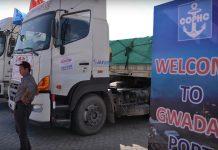 Transportation trucks outside the Gwadar Port.