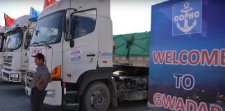 Transportation trucks outside the Gwadar Port.