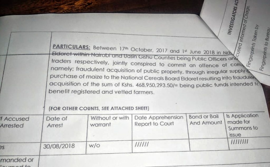 A view of the charge sheet of the charge sheet presented in court. Up to 16 people have been arraigned in the NCPB maize scandal. Photo by: Via News