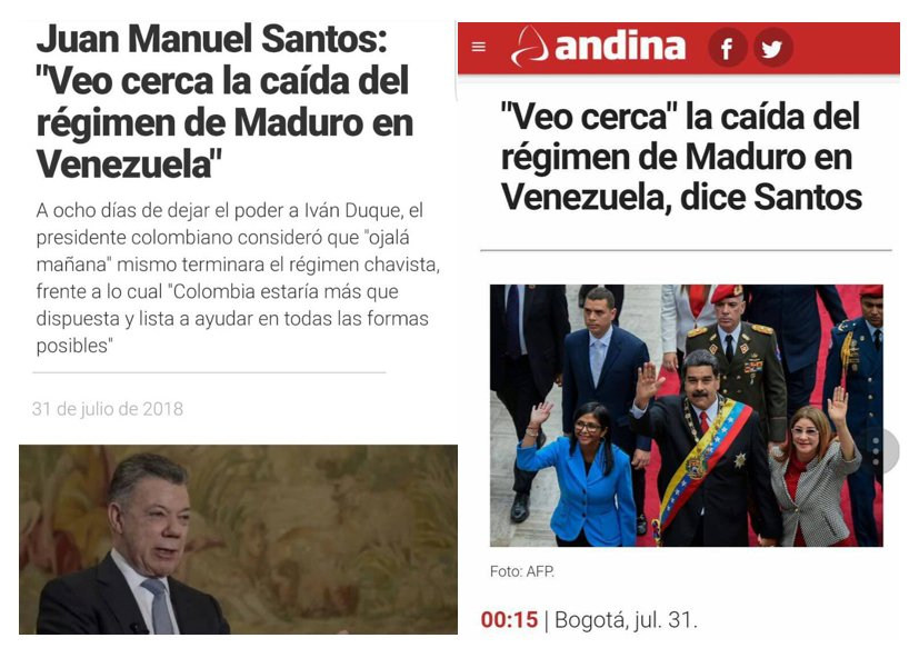 In July, the president of Colombia, Juan Manuel Santos, announced that Maduro's government is coming to an end.