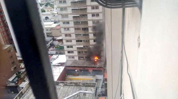 Second drone explosion on the first floor of a nearby building.