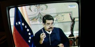 Nicolas Maduro speech on national TV. Photo by: Joseph Romeo.