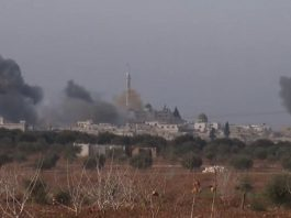 Syrian Air Force bombs Tah in Idlib Governorate on December 29, 2017. Photo by: Qasioun News Agency