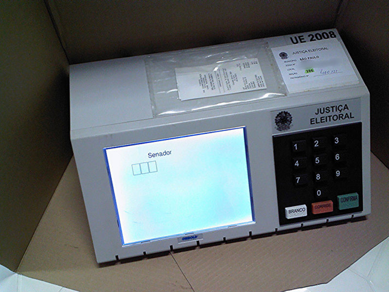 Electronic voting machine in Brazil (2014) Photo by: Mauro Cateb.