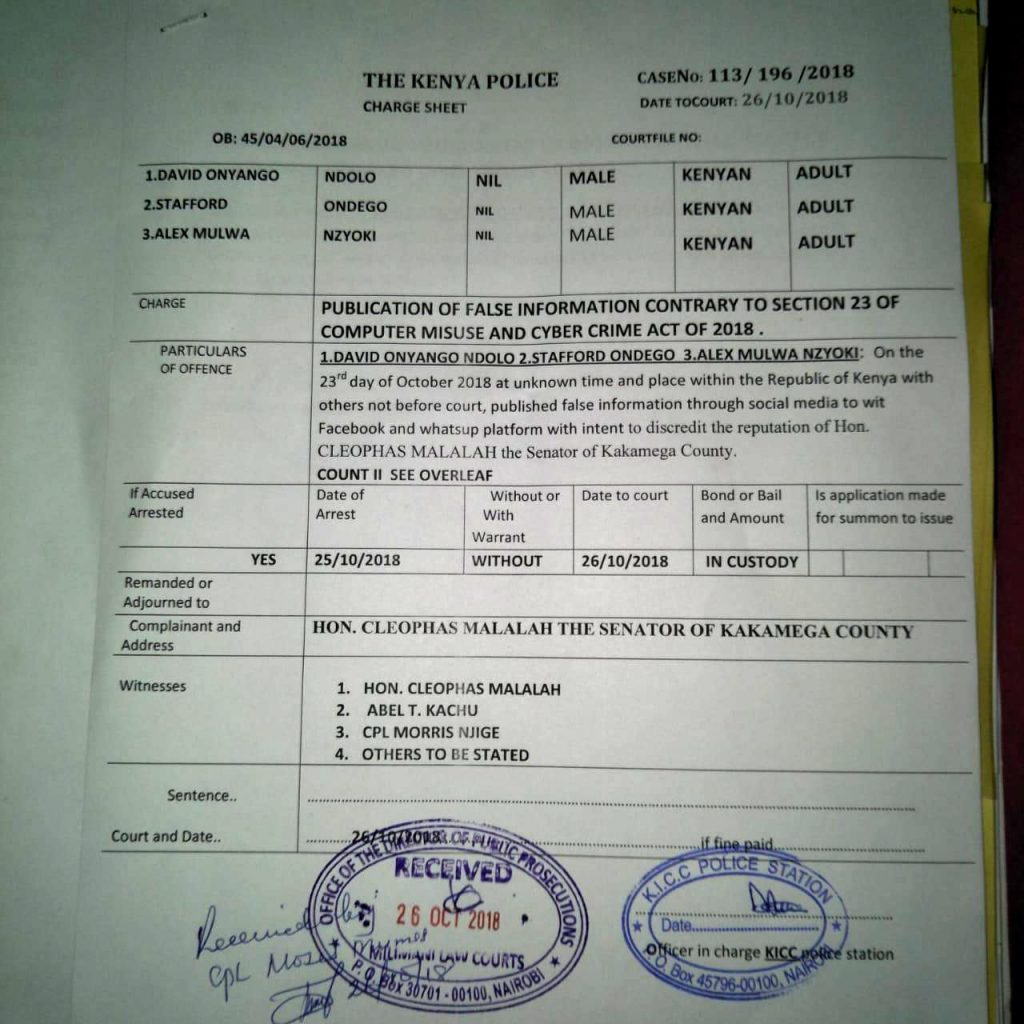 The court charge sheet outlining charges to the three Kenyan journalists. Photo by: ViaNews.