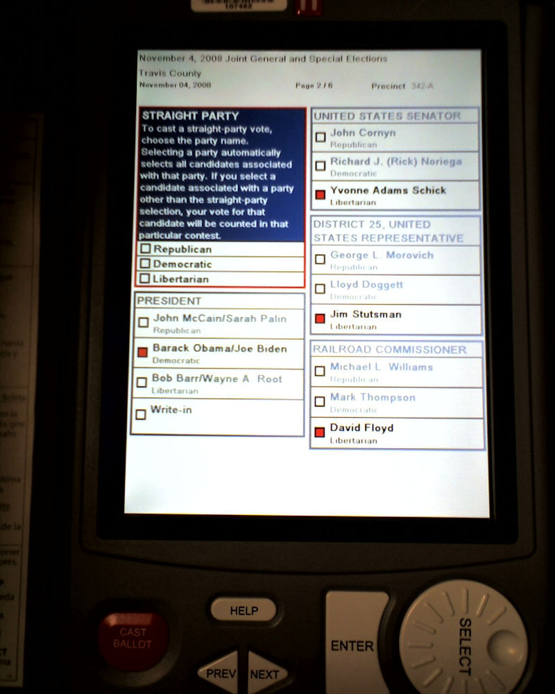 US election: Touchscreen EVM. Photo by:  Tim Patterson.