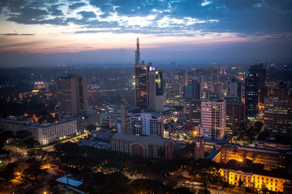 Nairobi, Kenya, skyline after sunset. Taken from the top of the Kenyatta International Conference Centre (KICC). Photo by: Stuart Price.