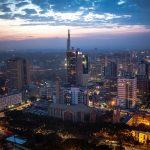Nairobi, Kenya, skyline after sunset. Taken from the top of the Kenyatta International Conference Centre (KICC). Photo by: Stuart Price.