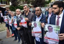 Activists in front of the Saudi consulate in Istanbul demanding to know the whereabouts of the Saudi journalist, Jamal Khashoggi. Photo by: Dogan News Agency.