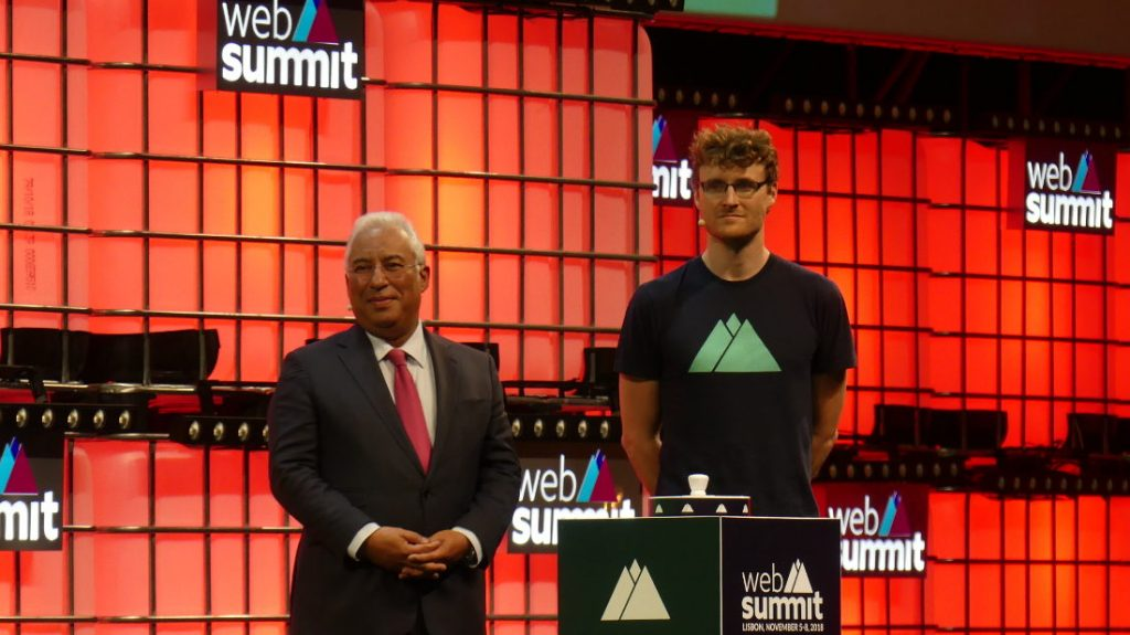 From left to right: António Costa (Portuguese Prime Minister) and Paddy Cosgrave (Web Summit co-founder). Photo by: Via News Agency.