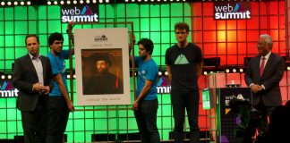 Web Summit opening ceremony. From left to right: Fernando Medina, (Lisbon Mayor), Paddy Cosgrave (Web Summit founder), and Antonio Costa (Portuguese Prime-Minister). Photo by: ViaNews.