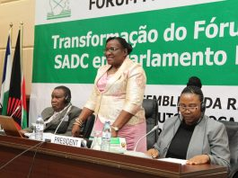 The Speaker of the National Assembly of Mozambique, Hon. Veronica Nataniel Macamo Dlhovo (standing) speaks after being elected unopposed as President of SADC PF. The Speaker of the National Assembly of Eswatini, Hon Petros Mavimbela was also elected unopposed. Vice President of SADC PF (left) and Acting Secretary General of the SADC PF listen in during the 44th Plenary Assembly Session in Maputo, Mozambique. Photo: Moses Magadza/SADC PF