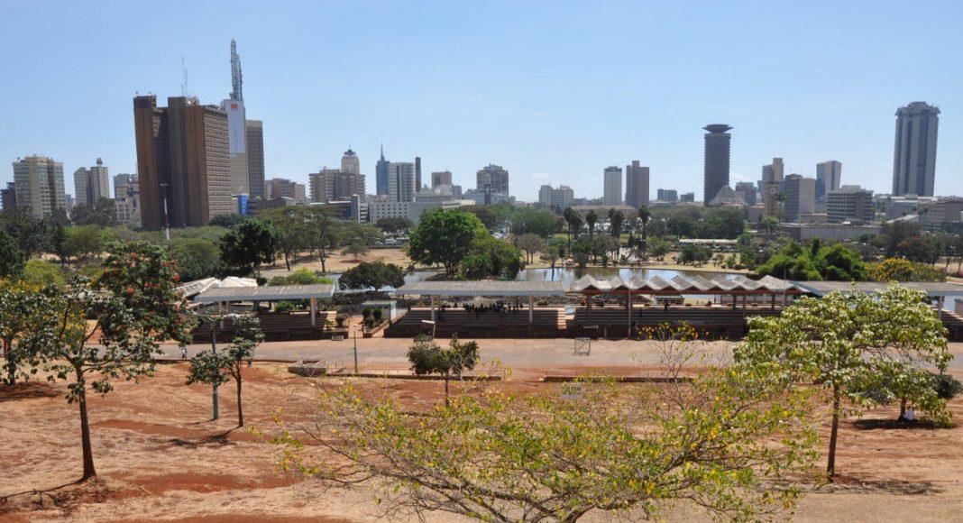 Nairobi's skyline from Uhuru Park, next to the central business district of Nairobi, Kenya. Photo by Jorge Láscar.