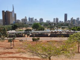 Nairobi's skyline from Uhuru Park, next to the central business district of Nairobi, Kenya. Photo by Jorge Láscar.