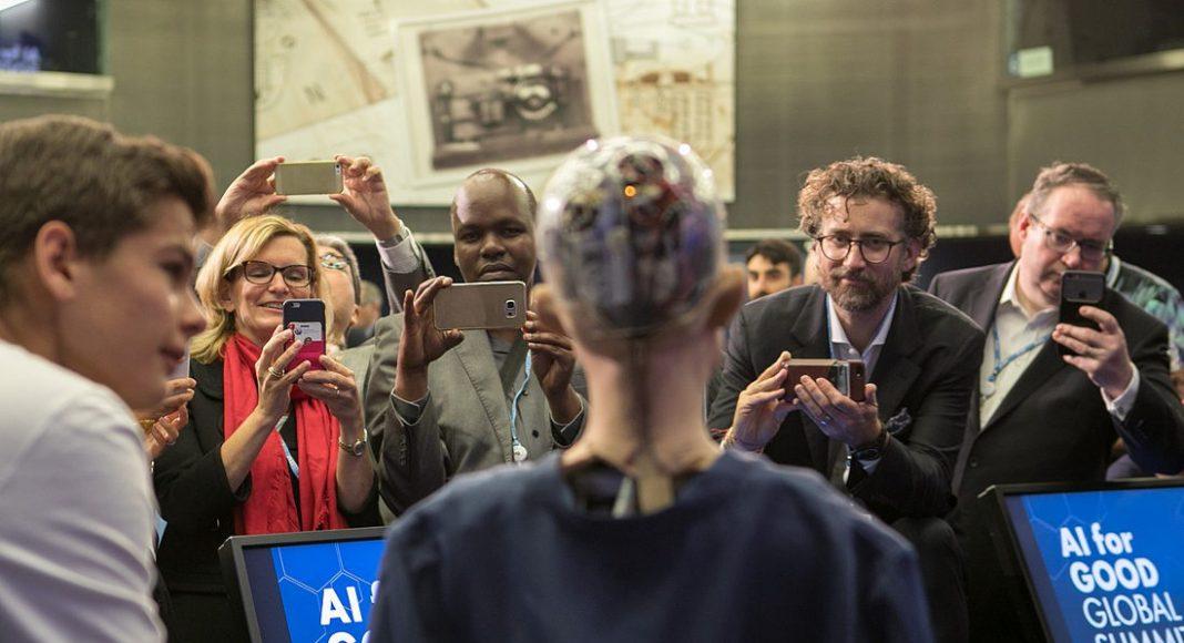Sophia, Hanson Robotics Ltd. speaking at the AI for GOOD Global Summit, ITU, Geneva, Switzerland, 7 - 9 June 2017. Photo by: ITU/R.Farrell.