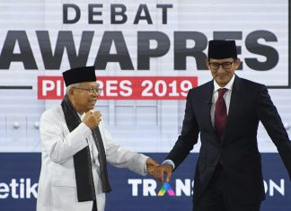 Indonesia Vice Presidential debate with Ma'ruf Amin and Sandiaga Uno.