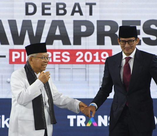 Indonesia Vice Presidential debate with Ma'ruf Amin and Sandiaga Uno.