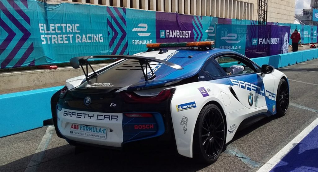 BMW electric car used as Safety Car in Formula E at FIA Smart Cities Forum in Rome. Photo by Cecilia Demartini.