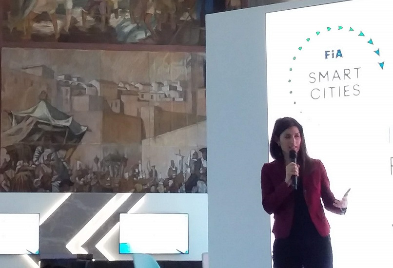 Virginia Raggi, Mayor of Rome, speaking at FIA Smart Cities Forum in Rome. Photo by Cecilia Demartini.