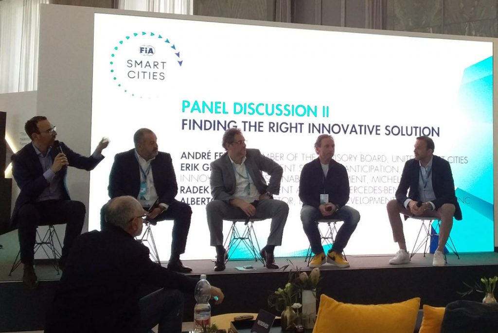 finding the right innovative solution-panel at FIA Smart Cities Forum in Rome. Photo by Cecilia Demartini.