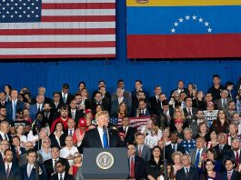 President Donald J. Trump delivers remarks to the Venezuelan American community at the Florida International University Ocean Bank Convocation Center Monday, Feb. 18, 2019 in Miami, Fla. (Official White House Photo by Andrea Hanks).
