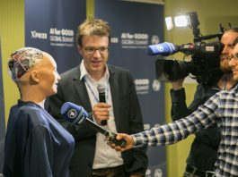 Sophia, Hanson Robotics Ltd. being interviewed at AI for GOOD Global Summit, ITU, Geneva, Switzerland, 7 - 9 June, 2017. Photo by: ITU/R.Farrell.