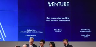 9 July 2018; Speakers, from left, Anson Bailey, KPMG, Kevin Jacques, Visa, Michael Xue, Lenovo Capital & Incubator Group, Nina Zhou, Swiss Re, and Donald Lacey, Ping An Insurance, take a selfie during Venture prior to the start of RISE 2018 at HKEx in Hong Kong. Photo by Stephen McCarthy / RISE via Sportsfile