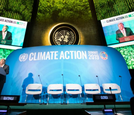 António Guterres speaking at the UN Climate Action Summit 2019. Image credits: UN Photo/Ariana Lindquist. Description: Opening of UN Climate Action Summit 2019