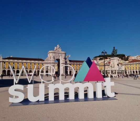 Web Summit's promotional item in Praça do Comércio, Lisbon, Portugal. Photo credit: Rick Morais