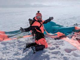 Brennan Basnicki, founder of ripatrip, snowkiting in Norway (Photo credit: ripatrip)