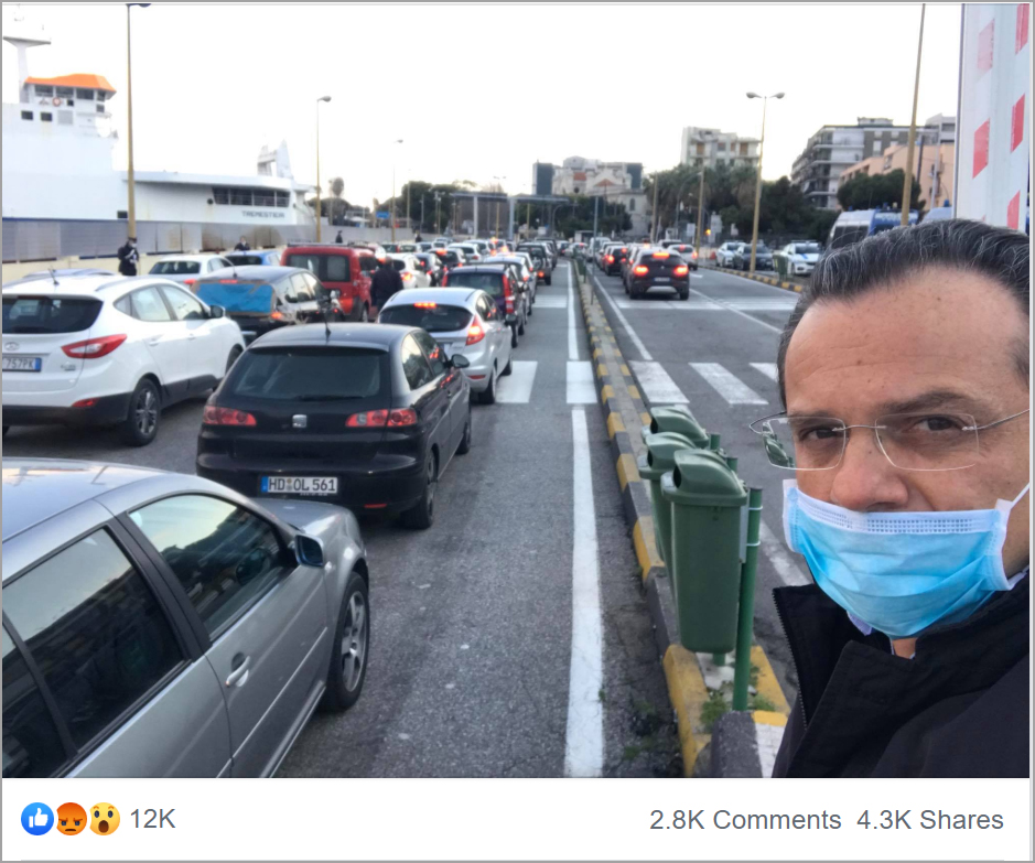Posts by Messina Mayor Cateno De Luca have been shared thousands of times by social media users. (Photo credit: Cateno De Luca/Facebook)